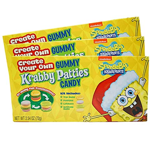 Spongebob Squarepants Create Your Own Gummy Krabby Patties Candy, Movie Theater Box Stocking Stuffer, Pack of 3, 2.54 Ounces