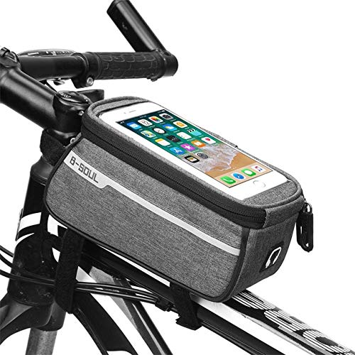 SSJIA Touch Screen Bike Bag Bicycle Accessories Bike Bicycle Front Tube Bag Cycling Frame Waterproof Front Bag Cell Mobile Phone Case 6inch Phone Holder,Gray,6inch