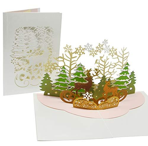 Besinnliche Weihnachtskarte mit extra Seite für Weihnachtsgrüße - einzige 3-seitige Klappkarte - festliche 3D Pop-Up Karte mit Rentier - gut geeignet für Weihnachten als Weihnachtsgeschenk & Gutschein