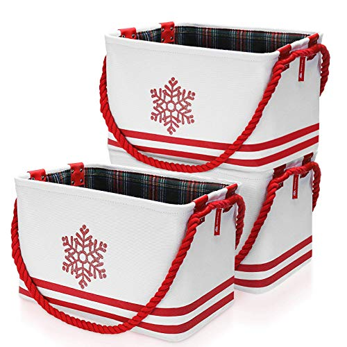 King do way Christmas Decorative 3Pcs Collapsible and Convenient Storage Bin Cube Storage Bin with Long Cotton Rope Handles,Canvas Fabric Storage Basket to Organize Office edroom Closet Kid's Toys