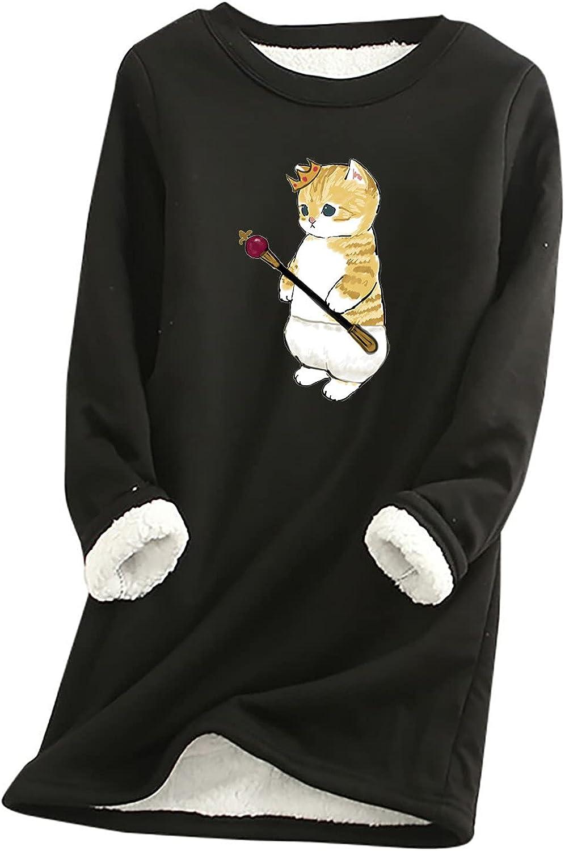 Womens Dresses Vintage Loungewear Long Sleeve Cute Cat Print Fall Fleece Sweatershirt Top Dress
