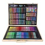 Soapow 251PCS acuarela lápiz lápices de colores conjunto herramientas de pintura de arte con caja de madera