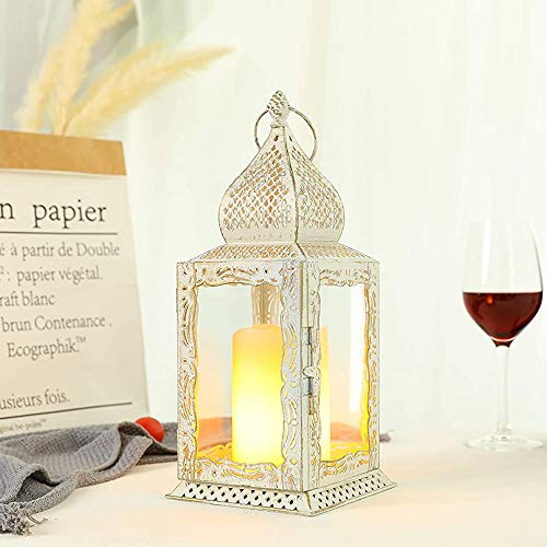 JHY DESIGN Decorative Lanterns 13' High Metal Candle Lanterns Vintage Style Hanging Lantern for Indoor Outdoor Events Parities Weddings (White with Gold Brush)