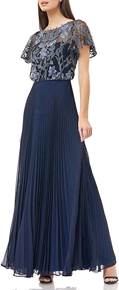 JS Collection Women's Navy Embroidered Floral Short Sleeve Jewel Neck Maxi Accordion Pleat Formal Dress Size 14 - All