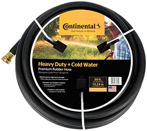 Continental Premium Cold Water Heavy Duty Black EPDM Garden Hose, 5/8' ID x 50' Length Reel - 20582671