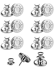 SHISHUO Jean Button Pins,12 Pcs Adjustable Silver No Sew Metal Replacement Instant Buttons to Extend or Reduce Pants Waist Size, Cowboy Clothing Jackets Bags Detachable Perfect Fit Fashion Buttons