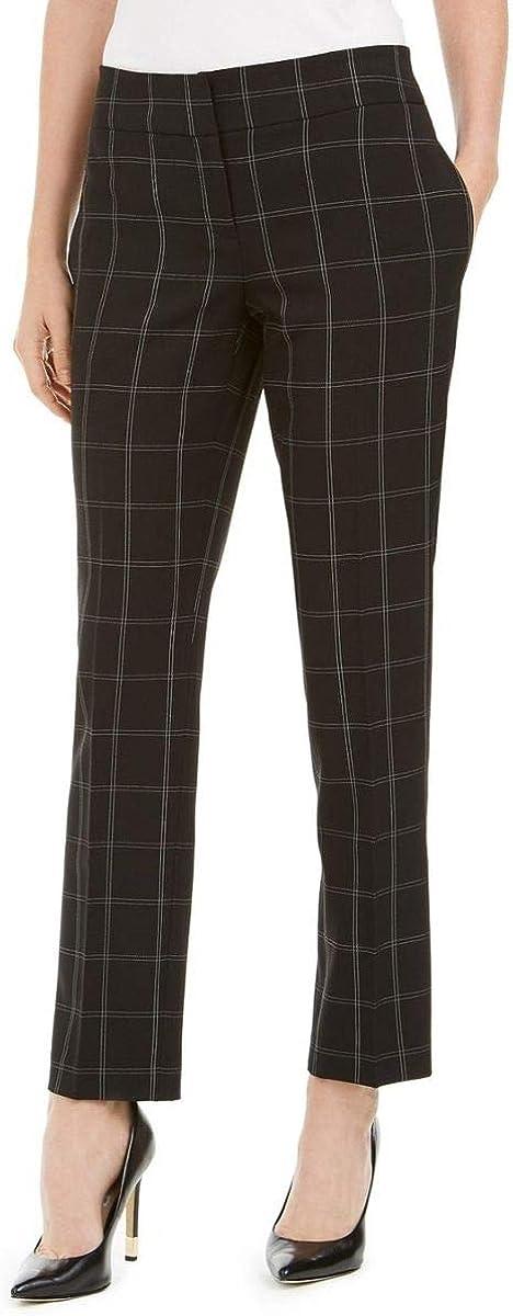 Kasper Womens Window Pane Slim Dress Pants