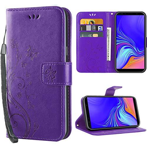 iDoer für Samsung A7 2018 hülle,Solide Butterfly PU Ledercase Tasche Schutzhülle Flip Samsung Galaxy A7 2018 hülle Leder Magnetverschluss Handyhülle im Wallet - Lila