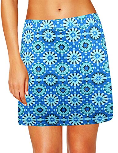 Oyamiki Women's Basic Stretchy Athletic Skirt Tennis Quick Dry Active Skorts with Shorts Inner Blue/S