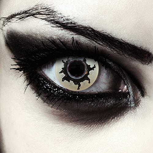 Designlenses, 2 weiß schwarze farbige Kontaktlinsen ohne Stärke, für Halloween Horror Clown Kostüm Makeup, gratis Kontaktlinsenbehälter Model: Rotten Zombie