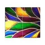 DEKOGLAS Herdabdeckplatten Set inkl. Noppen aus Glas 'Aufdruck: Bleiglas-Textur', Herd Ceranfeld...