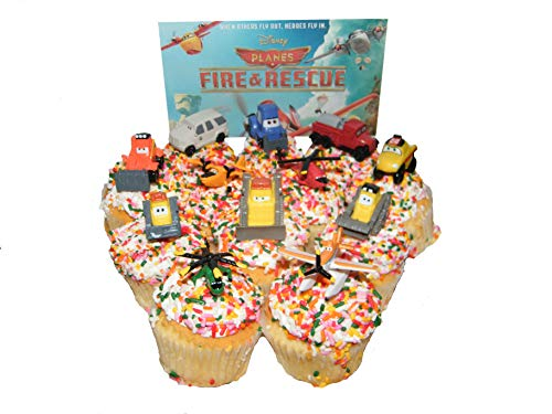 Disney Planes Fire and Rescue Movie Figure Deluxe Cake Toppers / Cupcake Party Decorations Set of 12 with Dusty, Blade Ranger, Smokejumpers and More!