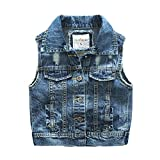 Denim Vest Boys Cotton Fall Sleeveless Denim Jacket Outwear 5T