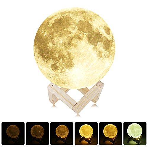 NEWBEN UE3D008 Lámpara/Luz de Luna Impresión 3D Recargable Control Táctil USB Print Moon Lamp Lámpara de Noche Ajustable Luminosidad Tocco con Soporte de Madera Decoración del Hogar Regalo de Navidad