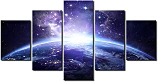 DINGDONG ART- Framed Galaxy Canvas Wall Art Painting Abstract Glowing Light On Planet Earth Modern Still Life Pics Ready to Hang for Home Decor 5 Pcs (30cmx40cmx2pcs,30cmx60cmx2pcs,30cmx80cmx1pcs)