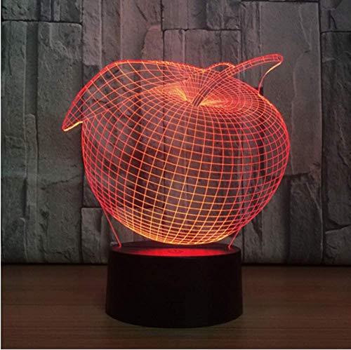 Creatieve 3D Apple USB LED Touch schakelaar Night Light Home Decor Kleurrijke sfeer slaapkamer bureaulamp voor kinderen Gift