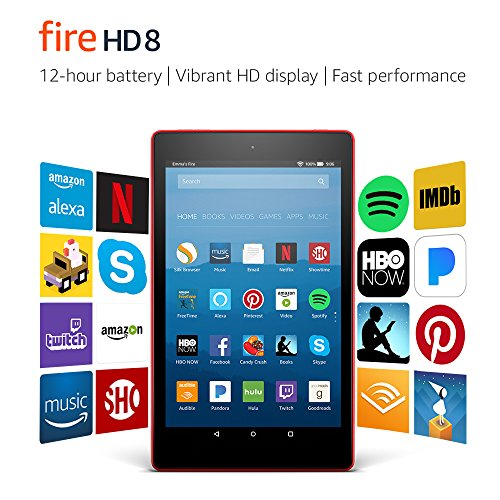 Fire HD 8 Tablet with Alexa, 8' HD Display, 16 GB, Punch Red - with Special Offers (Previous Generation – 7th)