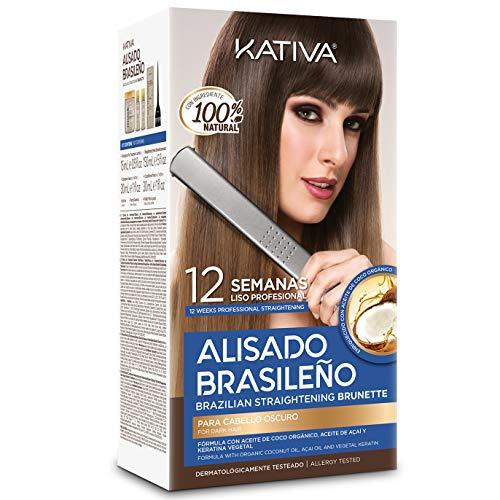 Kativa Kit Alisado Brasileño Cabellos Teñidos Oscuros - Tratamiento Profesional en casa - Hasta 12 SEMANAS - Con Keratina, Acaí, Keratina y Aminoácidos - SIN FORMOL - Hidratación- Brillo.