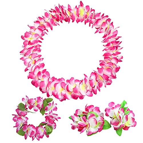 Collar de flores hawaianas Leis Jumbo pulseras de diadema con hoja para decoración de fiesta Luau suministros hawaianos Luau decoración de fiestas, 4 piezas (rosa)