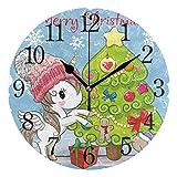 WILHJGH Regalo de árbol de Navidad de Dibujos Animados de Alpaca Lindo Reloj de Pared de PVC Redondo de 9,84 Pulgadas sin Tic-TAC para decoración del hogar Cocina Dormitorio Oficina Escuela