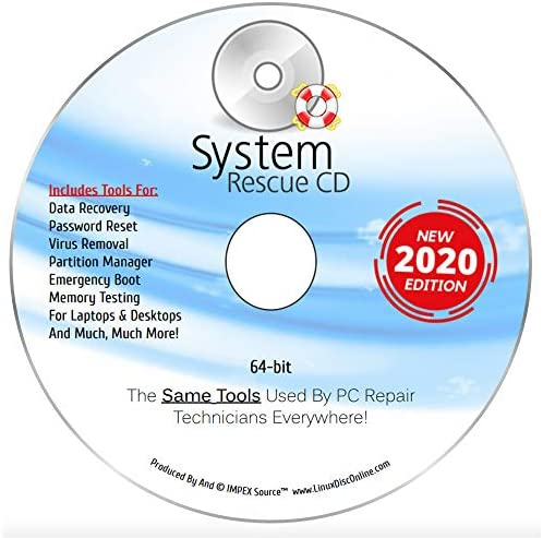 System Rescue CD USB System Recovery Disk 2 in 1 for Windows 10 8 1 8 7 Vista XP and Linux System product image