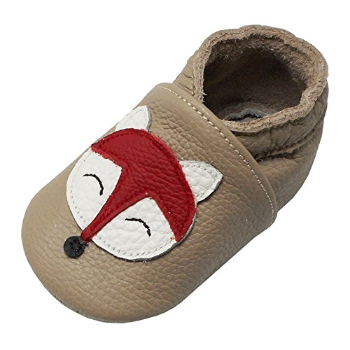 YALION Baby Weiche Leder Lauflernschuhe Krabbelschuhe Hausschuhe Lederpuschen Fuchs (12-18 Monate, Khaki)
