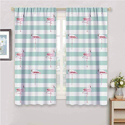 Modern Home Decor Sliding Door Curtains Pink Flamingo Birds on Horizontal Striped Bands Background Love Tropical Graphic Protective Furniture Seafoam White W63 x L63 Inch