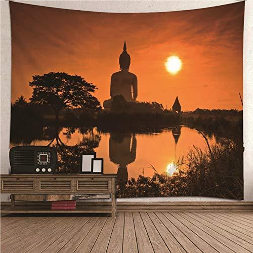 Aeici Tapestries, Tapiz Colgante Tapiz de Pared Buda al Atardecer Tapiz- Naranja Negro, 210x140CM