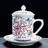Gossip Boy Ceramica Kung Fu Set tè Set di Ceremony Accessori Tazza di Acqua Tazza di tè Tazza di tè smaltato Acqua tè separata Macchina Tazza Tazza Tazza Ciotola piattino Coperchio-Bianca
