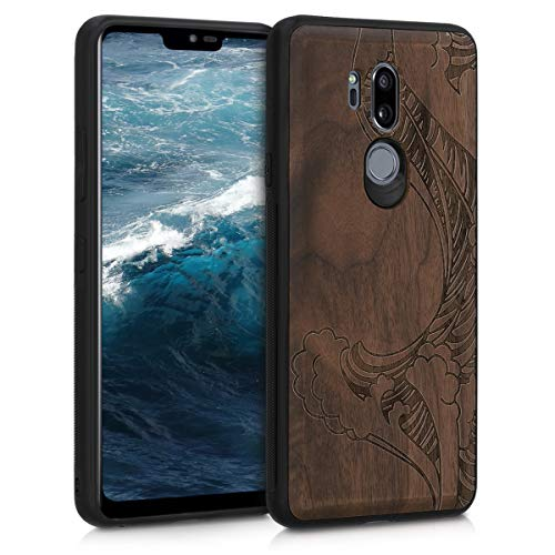 kwmobile Funda Compatible con LG G7 ThinQ/Fit/One - Funda de Madera de Nogal Olas marrón Oscuro