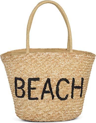 styleBREAKER Damen Korbtasche mit Reißverschluss und gesticktem Beach Spruch, Strandtasche, Strandkorb geflochten 02012289, Farbe:Braun-Schwarz