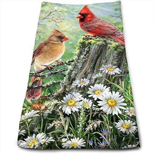 Red and Yellow Xmas Birds Cardinal Hand Towels Bathroom Soft White Daisy Green Forest Bath Towel Absorbent Kitchen Dish Towel Home Decor 27.5'' X 12''