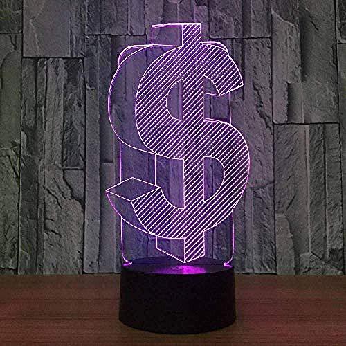 3d lampara de la noche lámpara para habitación infantil U.S. dollar Gift Darling In The Best Birthday Holiday Gifts For Children Con interfaz USB, cambio de color colorido