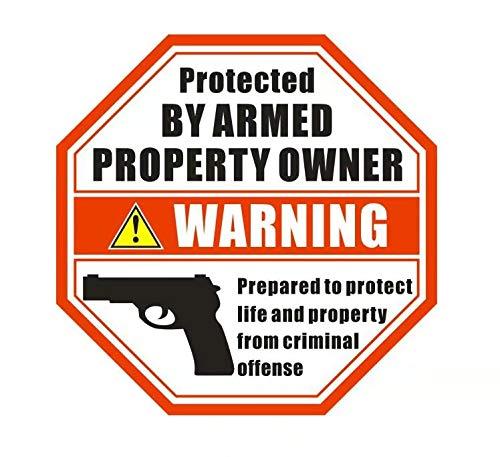 """Front Self Adhesive Vinyl Outdoor/Indoor (6 Pack) 3.5"""" X 3.5"""" Protected by Armed Property Owner Home Business Window Door Gun Handgun Warning Alert Sticker Decals"""