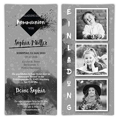 Communie uitnodigingskaarten individueel met foto's DIN lang 210x99mm - foto-strepen