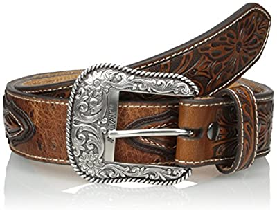 Ariat Men's Ostrich Print Circle Concho, Brown, 34