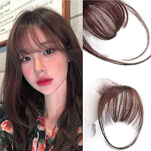 AISI QUEENS Clip in Bangs Human Hair Air Bangs Extensions One Piece Straight Air Fringe Hair Piece Accessories Bangs with Hair Temples(Red Brown)
