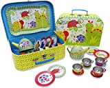 Slimy Toad Wiggly Bug Metal Tea Set & Carry Case Toy (14 Piece Kids Tea Set) Green, Blue, Yellow, Red