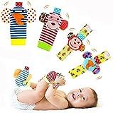 Baby Rattle Neonato 4 Pezzi Sonaglio da Polso per Neonati e Calze Piedi Simpatici Animalet...