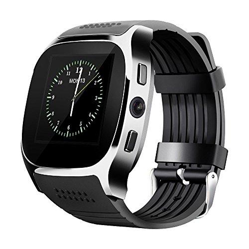LUCKY  Nuevo T8 Bluetooth Smart Watches Apoyo SIM & TF Tarjeta Con Cámara Sync Llamar Mensaje Hombres Mujeres Smartwatch Ver Para Android (black)
