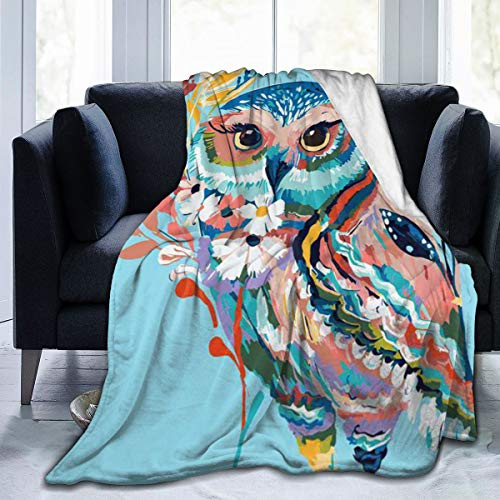 ngrongk Rainbows Owl Flannel Throw Blanket Ultra Soft Lightweight Warm Blanket for Living Room Bedroom 80'' x60