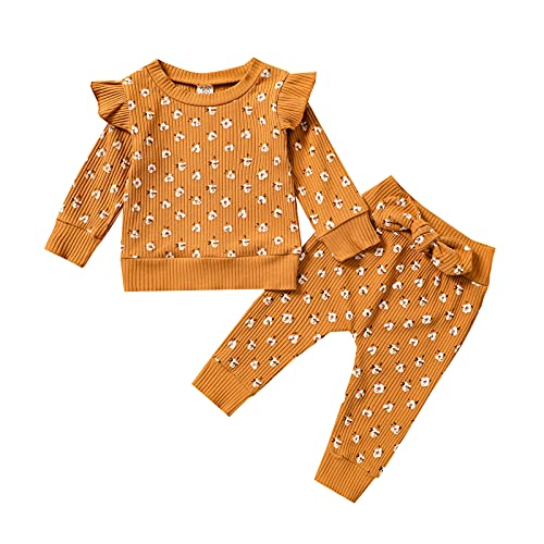 Toddler Baby Girl Clothes Floral Knitted Ribbed Long Sleeve with Ruffle Tops Bow Long Pants Set for Little Girls (Caramel,2-3 Years)