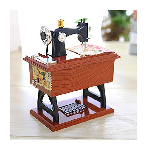 JAWM Music Box Mini Sewing Machine Style Table Decor Mechanical Christmas Birthday Gift