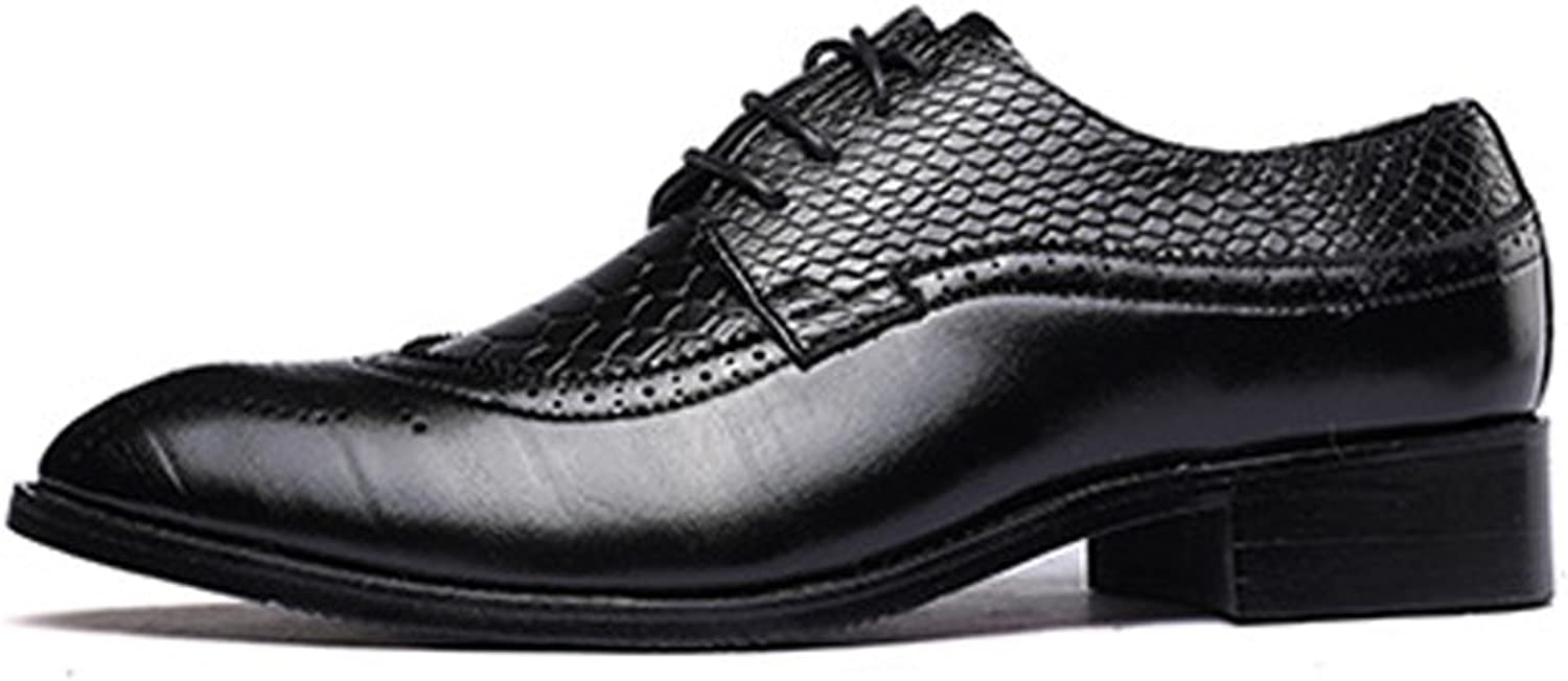 Z.L.F Men's PU Leather shoes Wingtip Snake Skin Texture Vamp Lace Up Block Heel Lined Oxfords