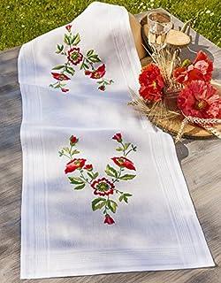 Kamaca Stickpackung Mohnblumen ZAUBER Stielstich Spannstich Plattstich vorgezeichnet aus 100% Baumwolle Tischläufer 40 x100 cm zum Selbersticken