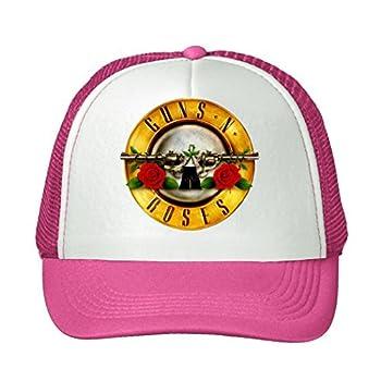 BIBIBO Gun N  Rose Gun Across Rose Adjustable Breathable Mesh Caps Sun Hats Unisex Pink