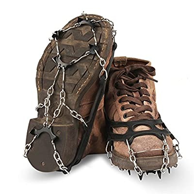 Crampons Ice Cleats Traction Snow Grips for Hiking Boots Shoes, Anti Slip Stainless Steel Traction Ice Cleats,Slip-Resistant Snow Ice Spikes,Ice Snow Grips for Walking, Jogging, Climbing and Hiking