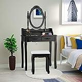 mecor Coiffeuse avec Miroir, Table de Maquillage Noire Femme avec Tabouret, 4 Tiroirs, et Miroir Ovale Maison de Campagne