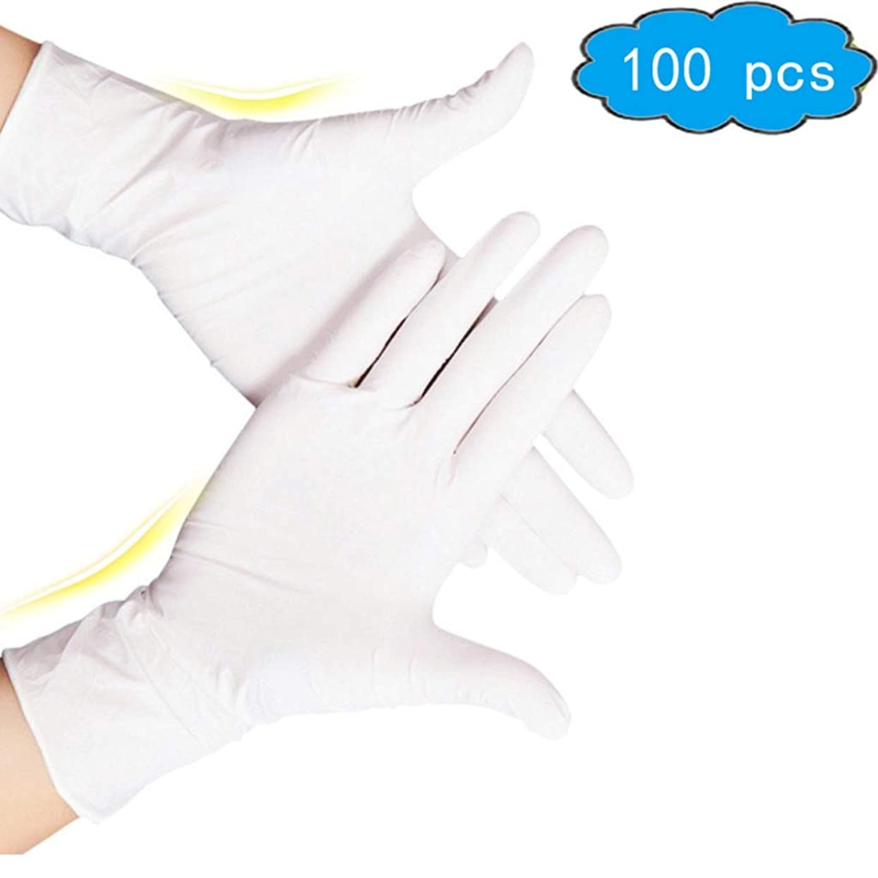 出します折り目不毛の使い捨てニトリル手袋、ノーパウダー、ラテックスアレルギー対策済みの多機能ヘビーデューティスーパーストロング、手袋を清掃、食品グレードキッチン手袋(100箱)、衛生手袋、応急処置用品 (Color : White, Size : M)