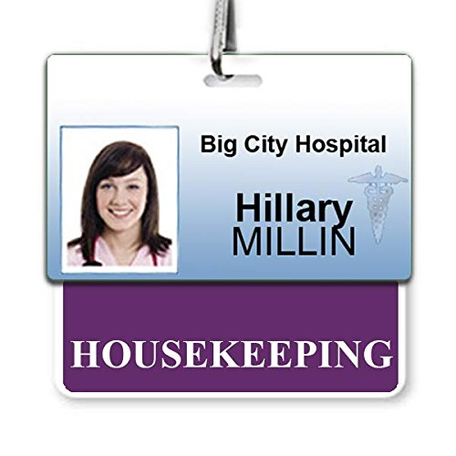 Housekeeping Badge Buddy - Heavy Duty Horizontal Badge Buddies for Housekeepers - Spill & Tear Proof Cards - 2 Sided USA Printed Quick Role Identifier ID Tag Backer by Specialist ID